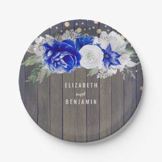 Navy Floral Rustic Wedding Paper Plate