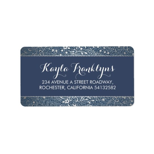 navy floral silver wedding label