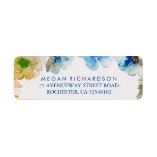 Navy Floral Vintage Fall Watercolor Wedding Return Address Label