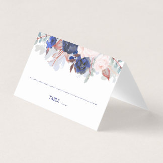 Navy Floral Watercolor Wedding Place Card
