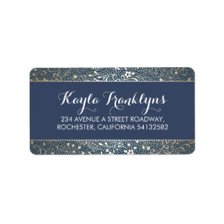 navy floral wedding address label