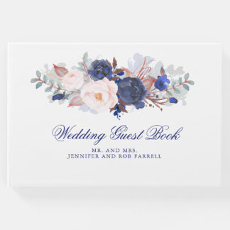 Navy Floral Wedding Guest Book