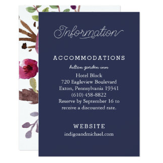 Navy Floral Wedding Information Cards