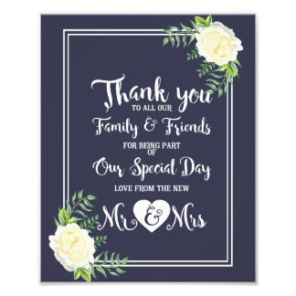Navy floral with a elegant Ivory Rose THANK YOU Photo Print