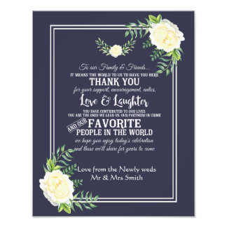 Navy floral with Chic Ivory Rose wedding Thank you Photo Art