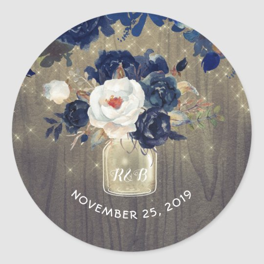 Navy Flowers Mason Jar Rustic Wedding Classic Round