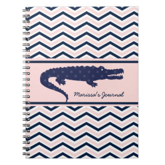 Navy Gator on Chevron Personalized Notebook