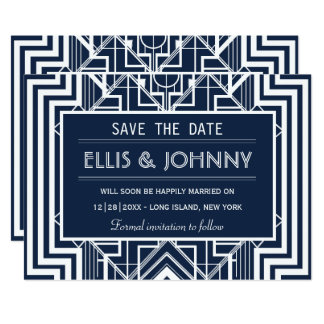 Navy Geometric Save the Date Cards