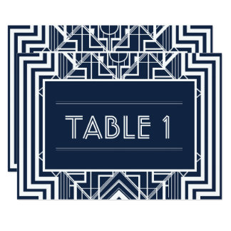 Navy Geometric Table Numbers