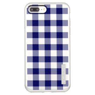 Navy Gingham Plaid on Silver Incipio DualPro Shine iPhone 8 Plus/7 Plus Case