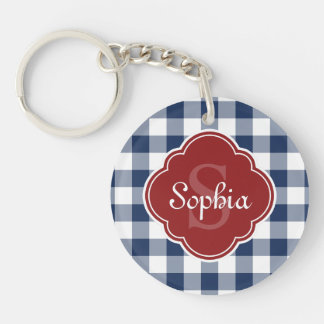 Navy Gingham Red Quatrefoil Monogram Double-Sided Round Acrylic Key Ring