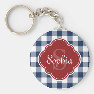 Navy Gingham Red Quatrefoil Monogram Key Ring