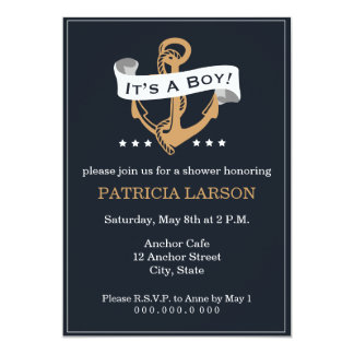 Navy Gold Anchor It's a Boy Baby Shower Invitation
