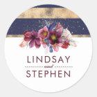 Navy Gold and Burgundy Floral Elegant Wedding Classic Round Sticker