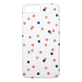 Navy Gold and Coral Confetti Dots iPhone 7 Plus Case