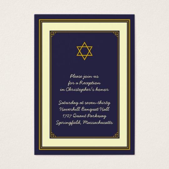 Navy & Gold Bar Mitzvah Reception Card