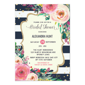 Navy Gold Bridal Shower Invitation Rustic Floral