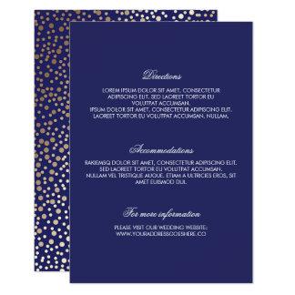 Navy Gold Confetti Wedding Details 9 Cm X 13 Cm Invitation Card
