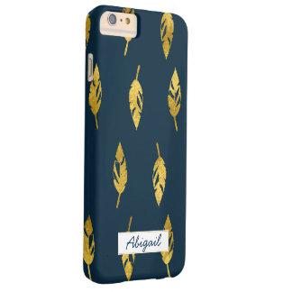 Navy & Gold Feathers Monogram Phone Case