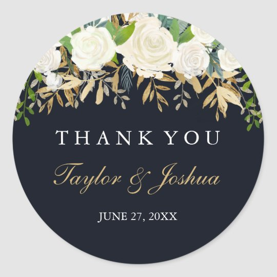 Navy Gold Floral Thank You Wedding Sticker