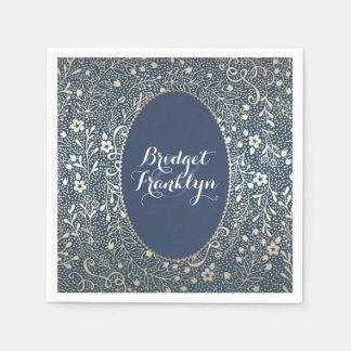 navy gold floral vintage wedding paper napkin