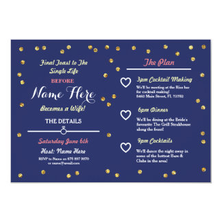 Navy Gold Glitter Bridal Shower Itinerary Invite
