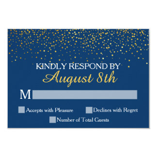 Navy Gold Glitter Confetti Dots Wedding RSVP Card