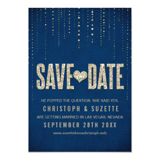 Navy & Gold Glitter Look Save The Dates 13 Cm X 18 Cm Invitation Card
