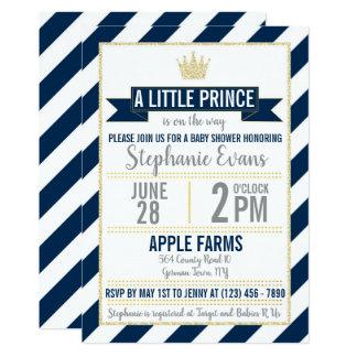 Navy Gold Glitter Prince Baby Shower Invite