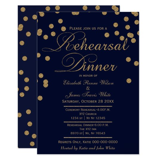 navy gold glitter rehearsal dinner invites