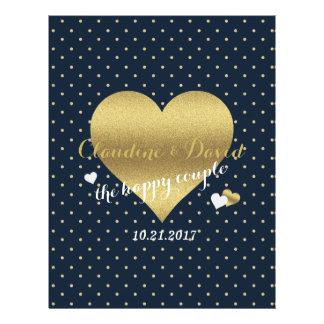 Navy & Gold Heart Polka Dot Wedding Program Flyer