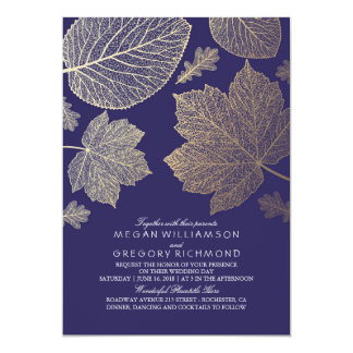 Navy Gold Leaves Vintage Fall Wedding 13 Cm X 18 Cm Invitation Card