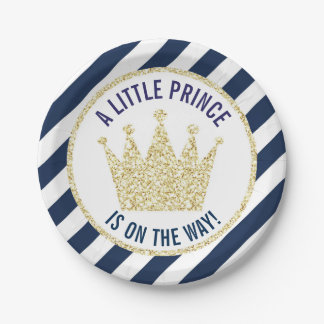 Navy Gold Little Prince on the Way Baby Shower Paper Plate