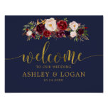 Navy Gold Marsala Boho Fall Wedding Welcome Poster
