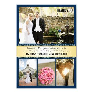 Navy Gold Multi-photo Wedding Thank You Cards