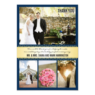 Navy Gold Multi-photo Wedding Thank You Cards 13 Cm X 18 Cm Invitation Card
