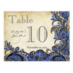Navy Gold Paisley Wedding Table Number
