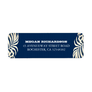 Navy Gold Palm Leaves Beach Wedding Return Address Label