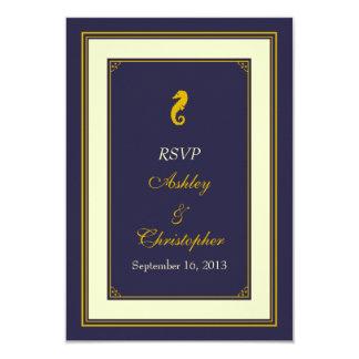 Navy Gold Seahorse Nautical Wedding Response Card 9 Cm X 13 Cm Invitation Card