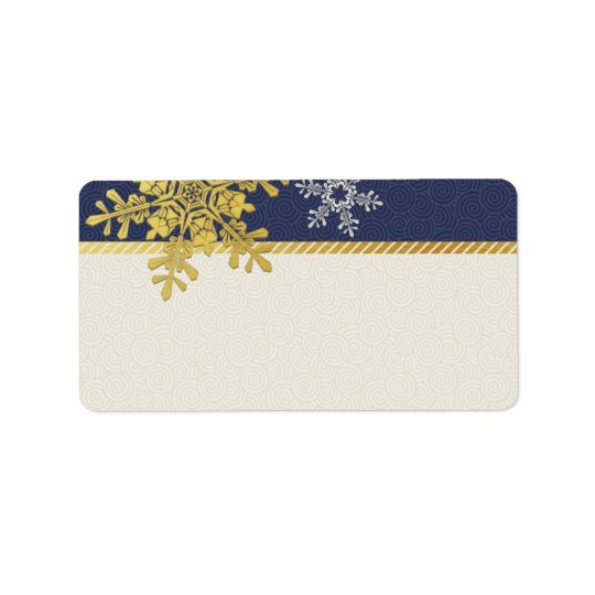 Navy Gold Snowflake Wedding Blank Address Labels