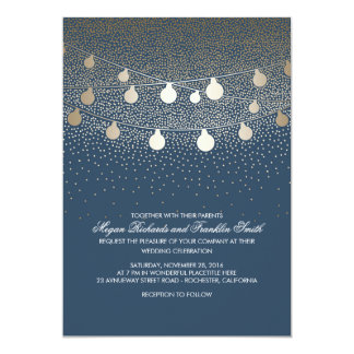 Navy Gold String Lights Glitter Vintage Wedding 13 Cm X 18 Cm Invitation Card