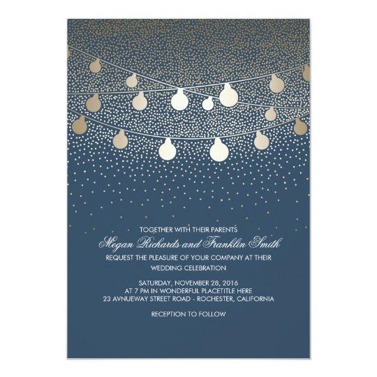 Navy Gold String Lights Glitter Vintage Wedding Card