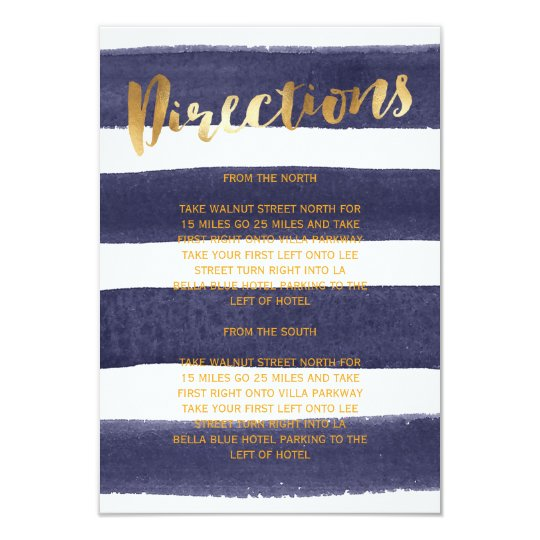 Navy Gold Watercolor Stripes Wedding Directions Card