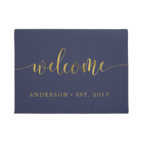 Navy Gold Welcome Calligraphy Personalised Doormat