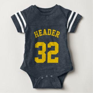 Navy & Golden Yellow Baby | Sports Jersey Design Baby Bodysuit