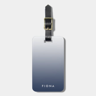 Navy Gradient Ombre Personalized Luggage Tag