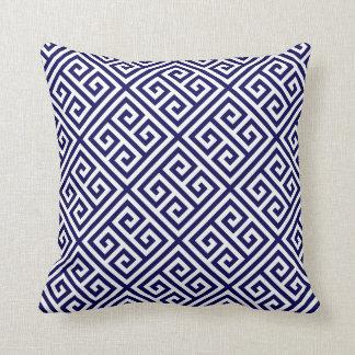 Navy Greek Key Pattern Cushion