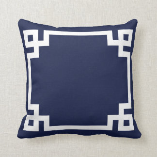 Navy Greek Key Pillow