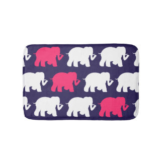 Navy green elephants custom bathmat bath mats