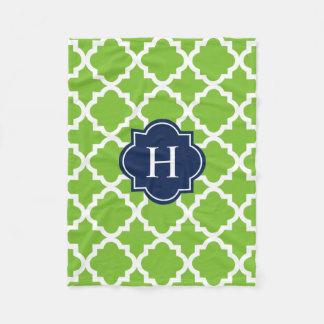 Navy & Green Monogram | Fleece Blanket